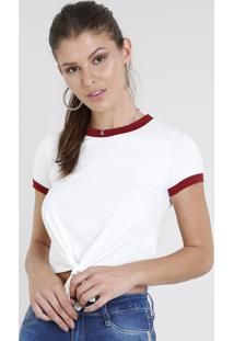 Blusa Feminina Básica Cropped Com Nó Manga Curta Gola Contrastante Branca