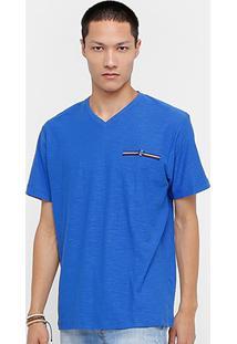 Camiseta Blue Bay Flamê Básica Masculina - Masculino-Azul