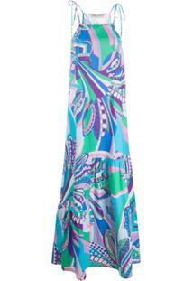 Emilio Pucci Vestido Com Estampa Abstrata - Azul