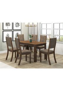 Conjunto Sala De Jantar Mesa Violeta 6 Cadeiras Kiara Viero Grigio/Canela