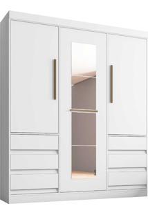Guarda-Roupa 3 Portas E 6 Gavetas Branco Araplac Móveis