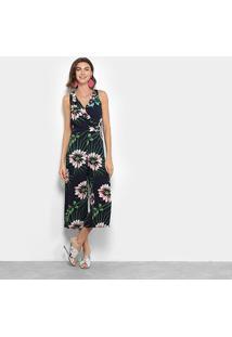 Macacão Longo Lily Fashion Regata Floral - Feminino-Marinho