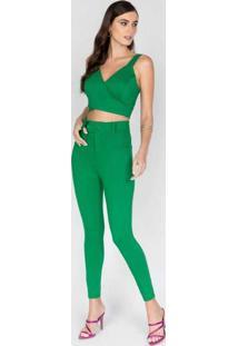 Calça Com Nervura E Abotoamento Duplo Verde Verde