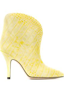Paris Texas Ankle Boot Com Efeito Pele De Crocodilo - Amarelo