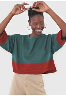 Blusa Dress To Tricot Color Block Verde/Caramelo - Kanui