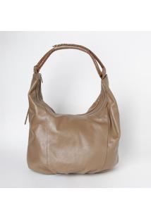 Bolsa Em Couro Com Bag Charm- Taupe- 30X34X18Cm-Edu Bolsas
