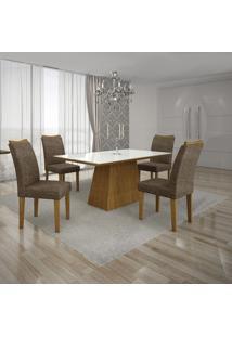 Conjunto Mesa Pampulha 1,20X0,80M Com 4 Cadeiras Vidro Branco Linho Marrom Imbuia - Leifer