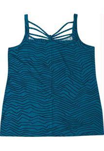 Blusa Azul Petroleo Strappy Estampada