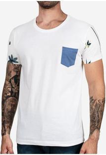 Camiseta Manga Floral Bolso Azul 102460
