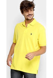Camisa Polo U.S. Polo Assn Lisa Bordado Masculina - Masculino-Amarelo