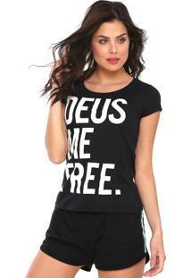 Camiseta Fiveblu Deus Me Free Preta