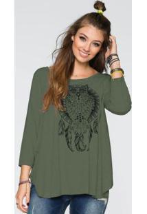 Blusa Ampla Com Estampa De Coruja Verde