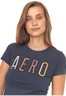 Camiseta Aeropostale Bordado Paetê Azul-Marinho
