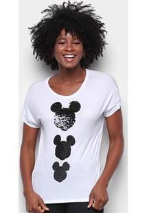 Blusa Cativa Disney Mickey Paetê Feminina - Feminino-Branco