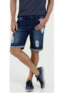 Bermuda Masculina Jeans Destroyed Barra Dobrada Marisa