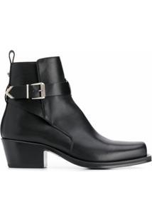 Versace Ankle Boot Com Fivela - Preto