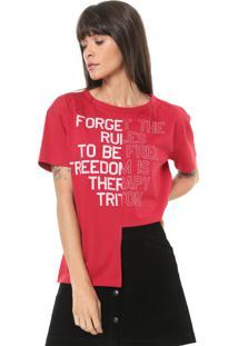 Camiseta Triton Assimétrica Estampada Vermelha