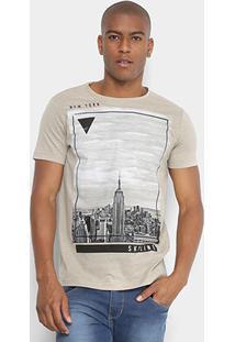 Camiseta Sideway Cidade Masculina - Masculino-Cáqui