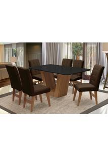 Conjunto De Mesa Para Sala De Jantar Com 6 Cadeira Veneza-Dobue - Cedro / Preto / Chocolate Vlp