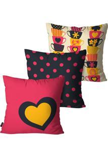 Kit Com 3 Capas Para Almofadas Pump Up Decorativas Pink Café Love 45X45Cm