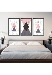 Quadro 60X120Cm Abstrato Escandinavo Coloridos Geométrico Triangulos Moldura Preta Sem Vidro - Mod: Oh5714