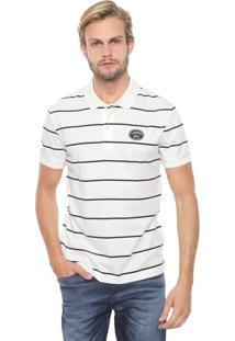 Camisa Polo Lacoste Regular Listrada Off-White/Azul-Marinho