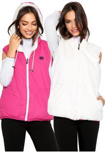 Colete Polo Wear Dupla Face Bordado Rosa/Branco
