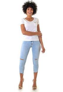 Calça Jeans Opera Rock Emana Leg Max Feminina - Feminino-Azul