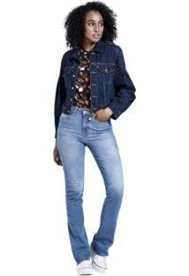 Jaqueta Jeans Full Sleeve Trucker - Feminino-Jeans