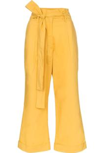 a4f8196562 Farfetch. Calça Amarela Feminina Algodão Flare ...