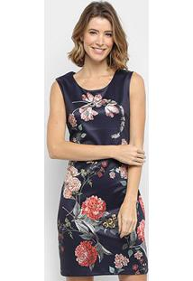 Vestido Pérola Tubinho Curto Floral - Feminino-Marinho