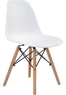 Cadeira Sem Braço Pp Base De Madeira Eiffel -Rivatti - Branco