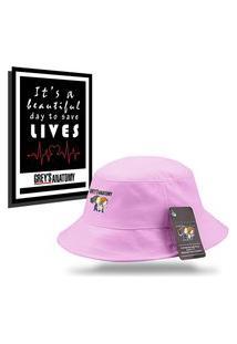 Kit Chapéu Bucket Unissex Com Quadro Personalizados Grey'S Anatomy - Rosa