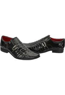 Sapato Social Leoppé Verniz Masculino - Masculino-Preto