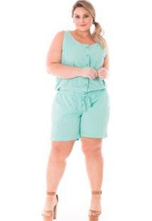 Macacão Feminino De Sarja Plus Size Feminino - Feminino-Verde