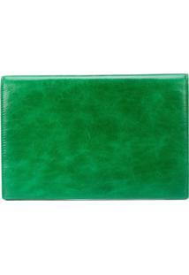 Dvf Diane Von Furstenberg Bolsa Clutch Grande De Couro - Green