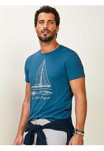 Camiseta Azul Slim Sail Boat Project Malwee
