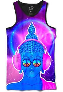 Camiseta Regata Long Beach Psicodélica Buddah Sublimada Roxo