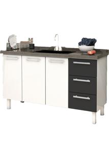 Gabinete Cozinha Cozimax Venus Flat Aço Para Pia 1600 Mm Branco Preto