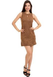 Vestido Suede Tubinho Com Abertura Gota - Feminino