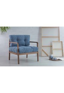 Poltrona Moderna De Madeira Estofada Canela Flocos - Verniz Capuccino Tec.930 Azul Claro 69X71X79 Cm