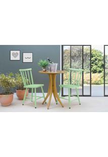 Mesa Bistrô Redonda Com 2 Cadeiras Juliette - Amêndoa E Verde Sálvia