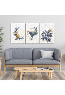 Quadro 60X120Cm Escandinavo Floral Atenas Canvas Decoração