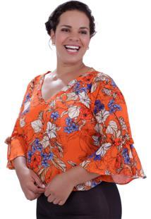 Blusa Antonella Orange Plus Size Vickttoria Vick Plus Size Laranja