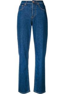 Philosophy Di Lorenzo Serafini Calça Jeans Cintura Alta Reta Stretch - Azul