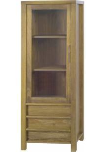 Cristaleira Vitrine Linear 1 Porta Acacia Escovado - 22123 - Sun House
