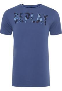 Camiseta Masculina Flowers - Azul