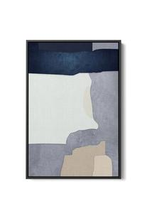 Quadro 75X50Cm Abstrato Textura Malko Moldura Flutuante Filete Preta