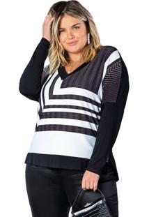 Blusa Feminina Plus Size Doce Trama Lisamour Preto/Branco - P