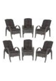 Cadeiras 6Un P/ Jardim Lazer Edicula Varanda Descanso Fibra E Tramas Napoli Plus Tabaco A21